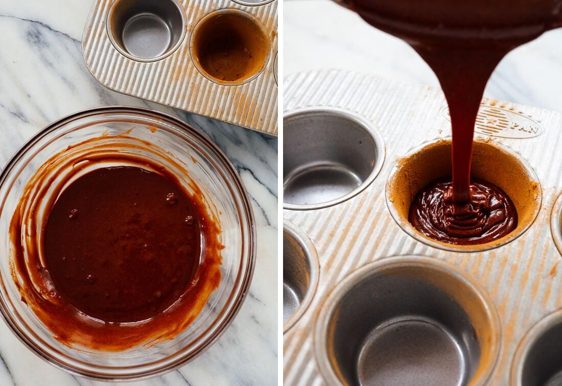 pouring lava cake batter into prepared muffin tin