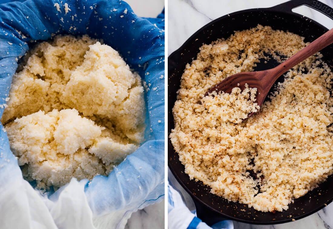 cauliflower rice preparation