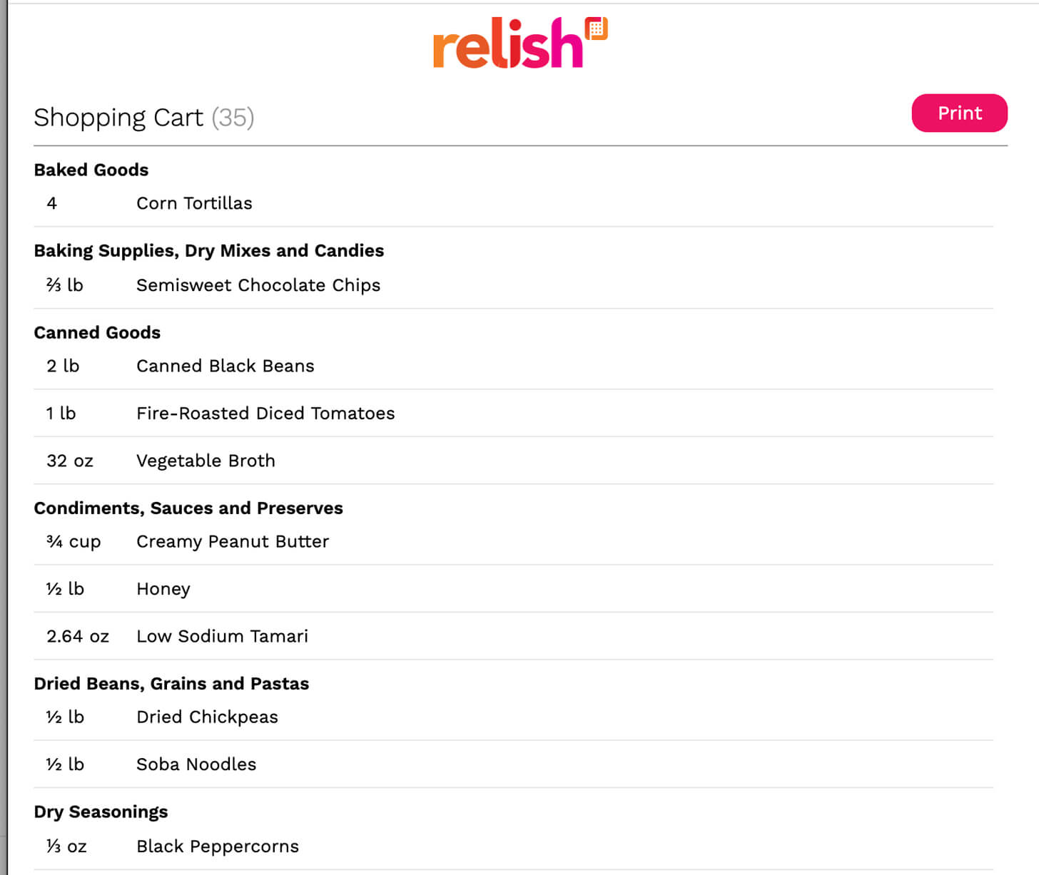 relish print feature