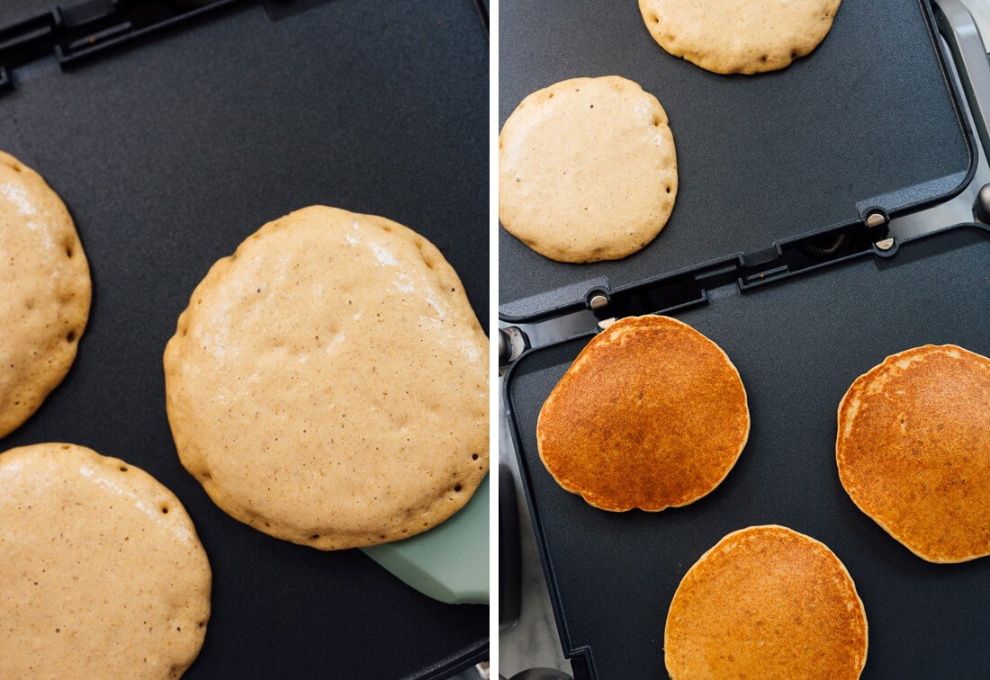 oatmeal pancakes on griddle, before and after flipping