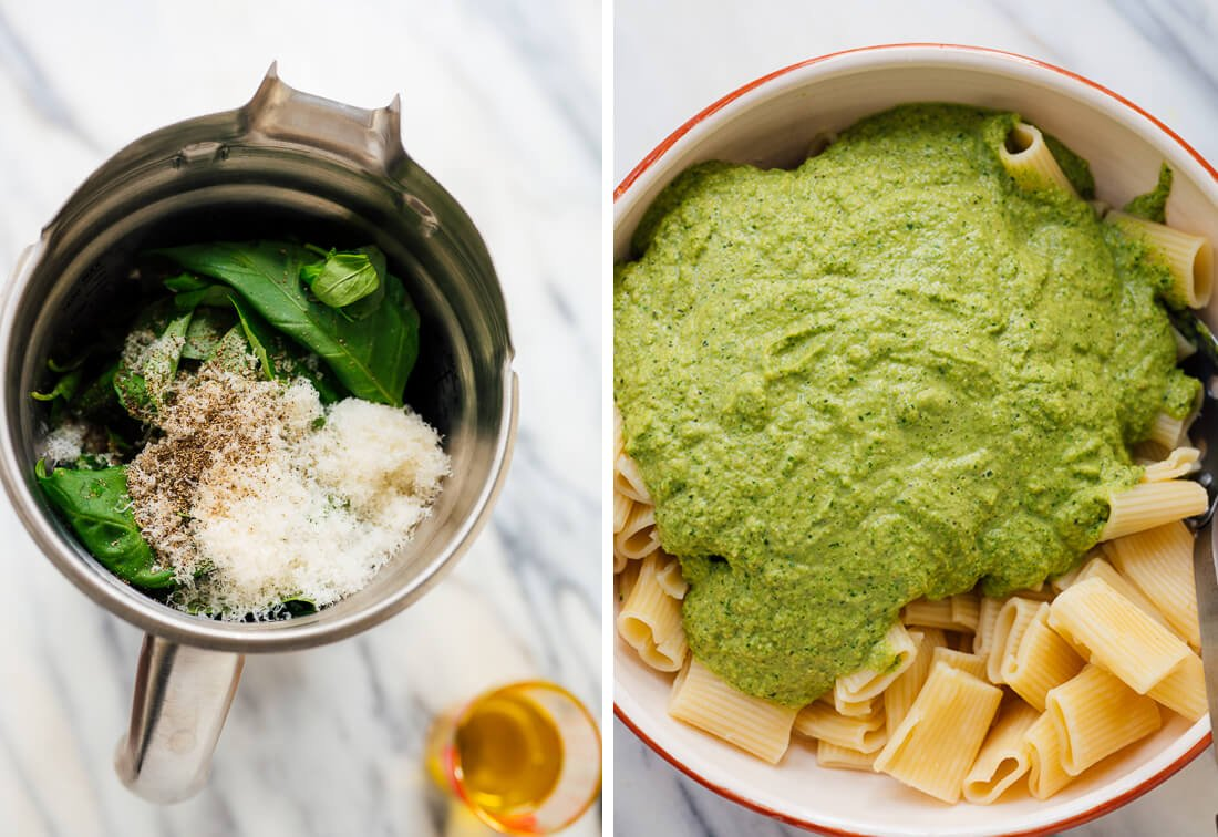 broccoli pesto before and after blending