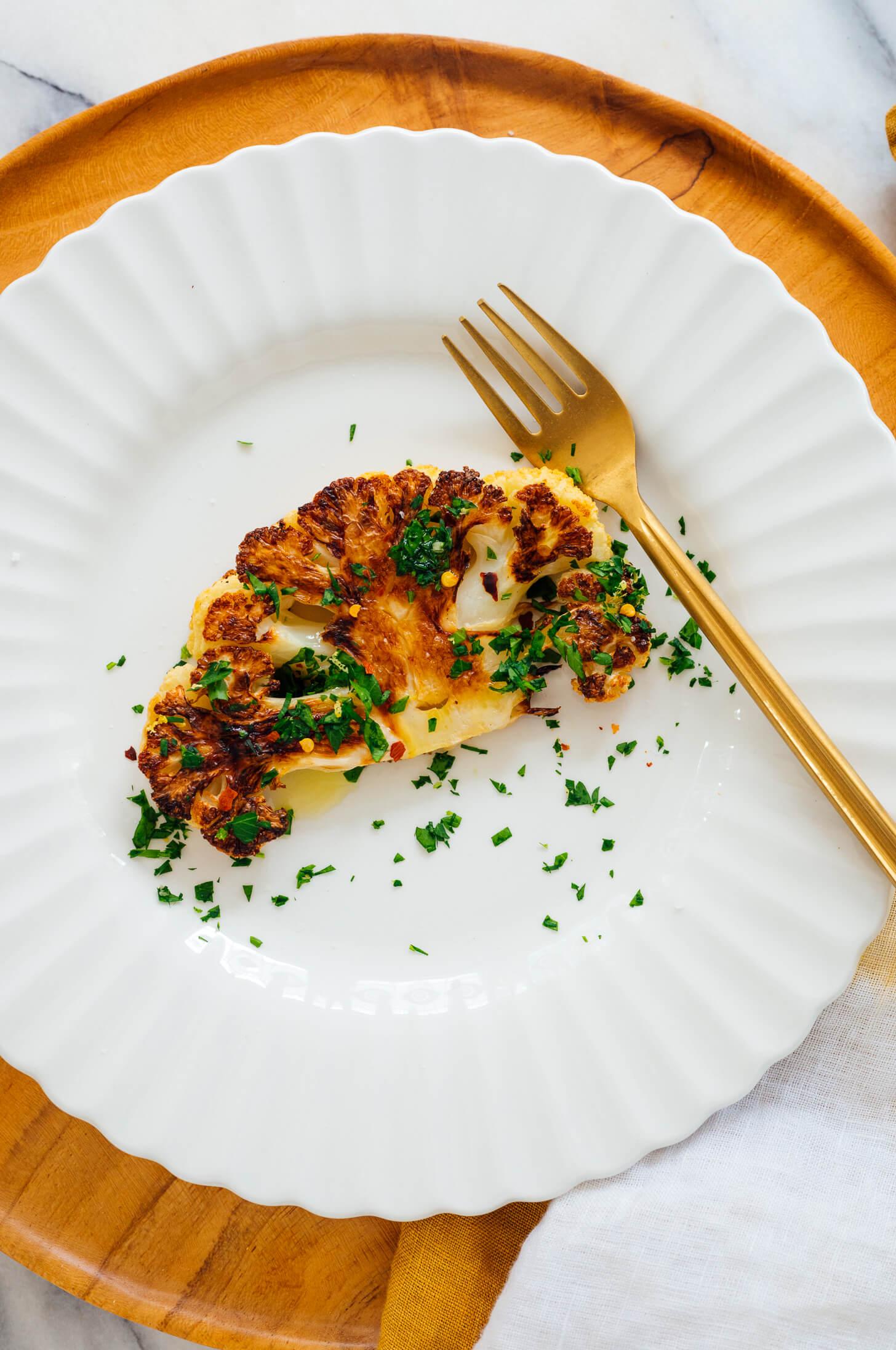 cauliflower steak on plate