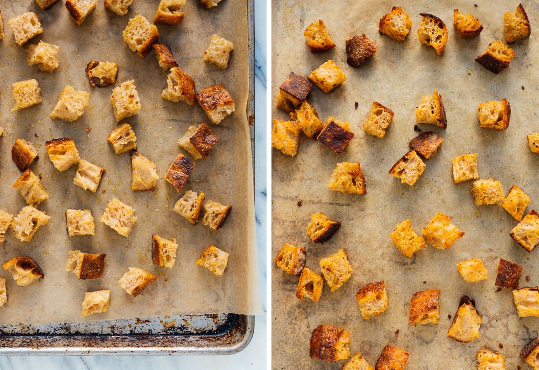 croutons, before and after baking