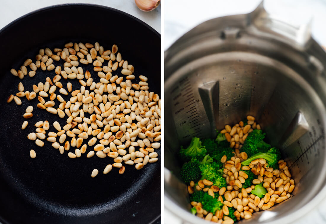 toasted pine nuts and steamed broccoli
