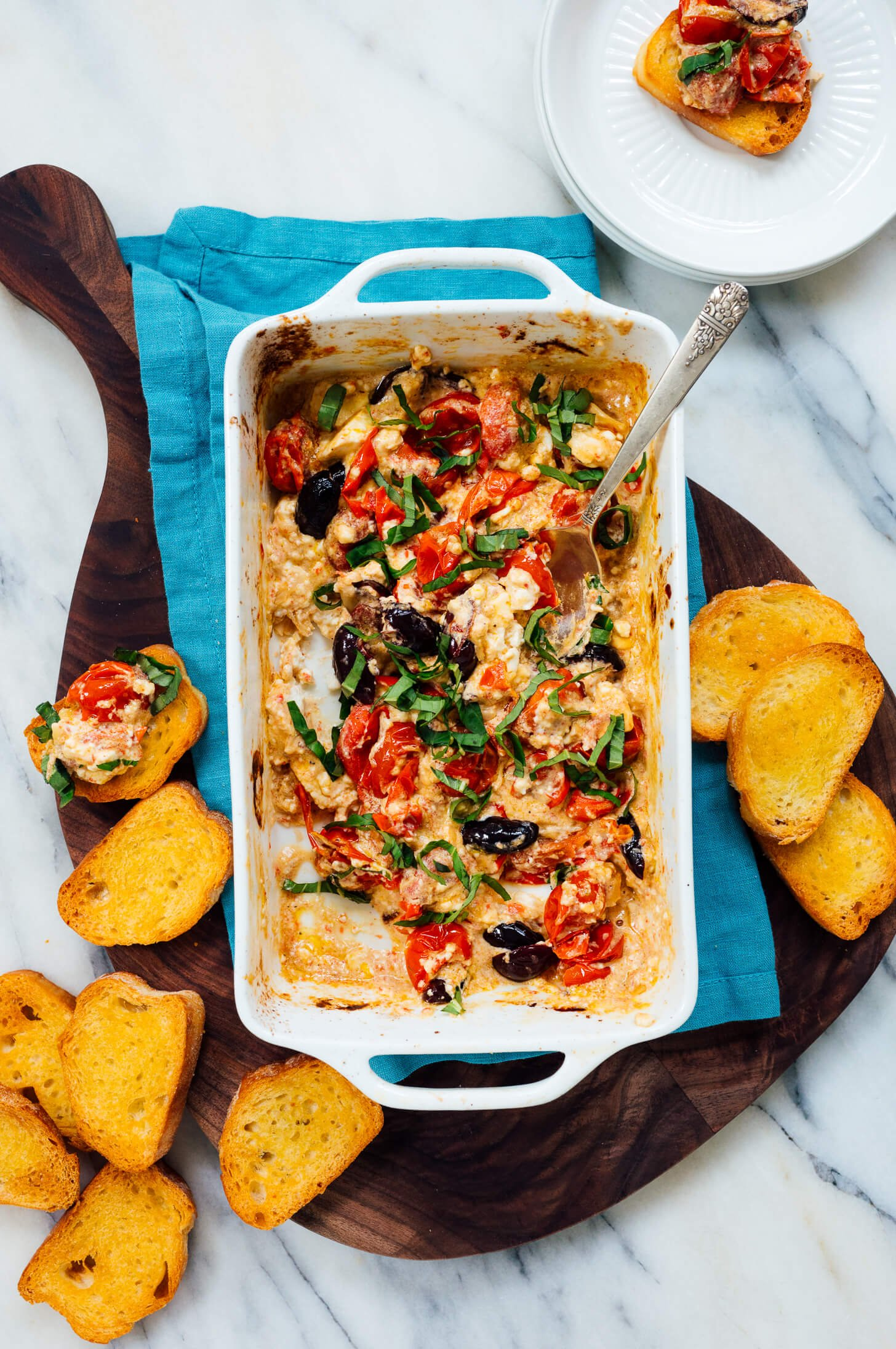 baked feta dip with tomatoes and olives