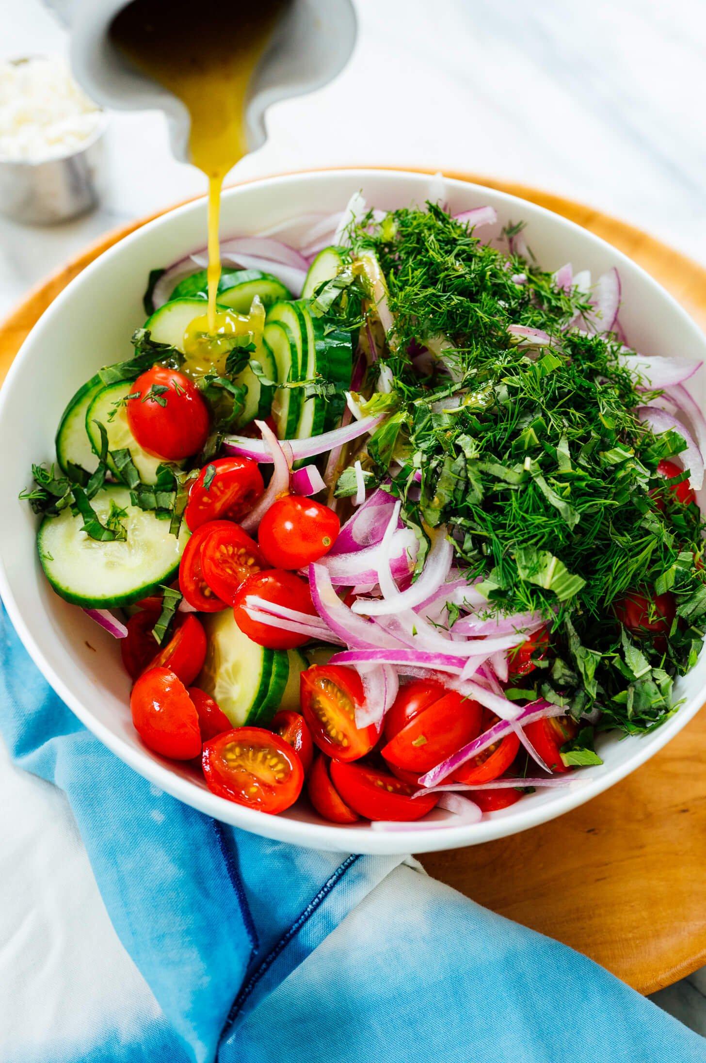 Greek dressing on salad