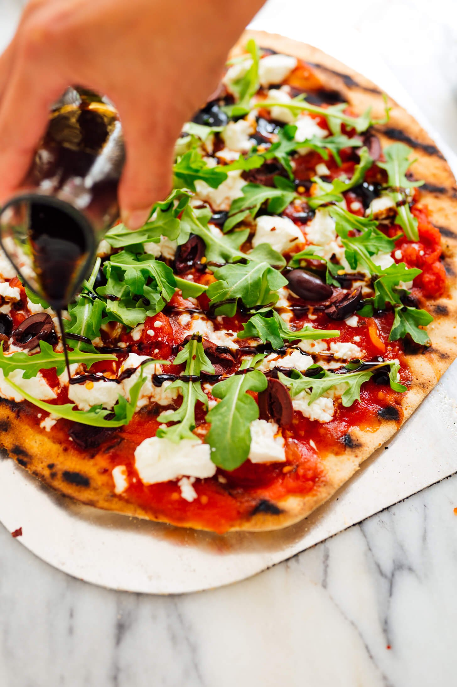 grilled pizza with balsamic drizzle
