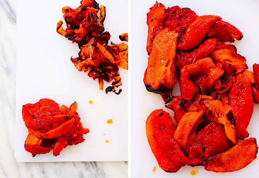 roasted bell peppers skin removal
