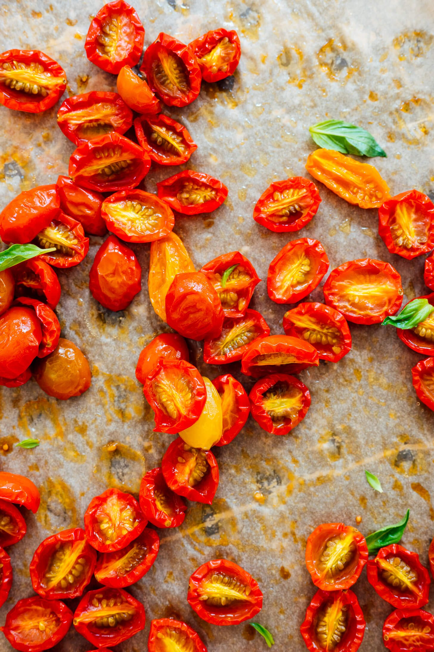 roasted cherry tomatoes close-up